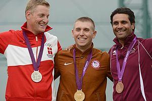 Shooting at the 2012 Summer Olympics – Men's skeet - Image: Anders Golding, Vincent Hancock, Nasser Al Attiyah 2012