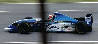 Andrea Montermini - Montermini driving for Pacific Racing at the 1995 British Grand Prix.