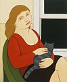 "Andrew Stevovich oil painting, Woman with a Grey Cat, 2014, 11.5"" x 9.5"".jpg"
