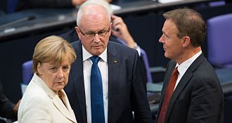 Thomas Oppermann - Thomas Oppermann alongside Angela Merkel and Volker Kauder at the Deutscher Bundestag, 2014