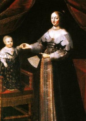 母后アンヌ・ドートリッシュと幼少のルイ14世(作者不明、17世紀)