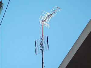 UHF television broadcasting - This mast has two UHF antennas for receiving signals from different directions. The lower antenna is a bowtie array, a typical modern UHF antenna. The upper antenna is a Yagi design that is generally used only in special circumstances, but used to be more common.