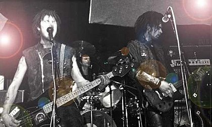 The UK anarcho-punk and D-beat band Antisect playing in Brighton in 1985. Antisect Brighton 1985.jpg