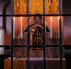 Anthony the Great - The former main altar of the hermitage church in Warfhuizen in the Netherlands with a mural of Anthony the Abbot and a reliquary with some of his relics. Since then they have been moved to a new golden shrine on a side-altar especially made for them