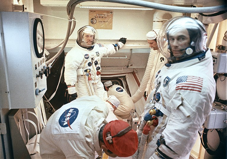 Crew boarding the command module before launch