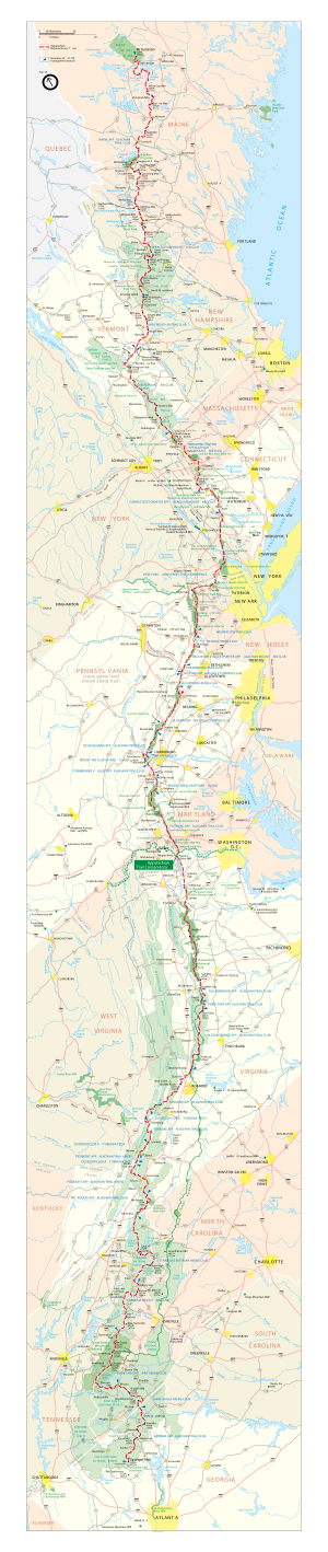 English: Vector map of the Appalachian Trail. ...
