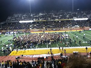 2012 Appalachian State Mountaineers football team - Fans storm Kidd Brewer Stadium after defeating the Furman Paladins and securing a share of the Southern Conference football championship