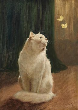 Arthur Heyer cat and two butterflies