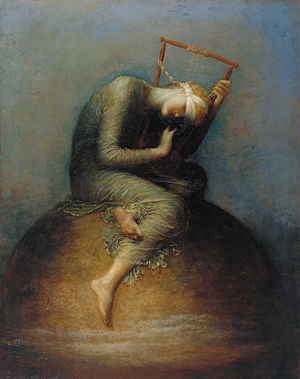 Hope - Hope, which lay at the bottom of the box, remained. Allegorical painting by George Frederic Watts, 1886