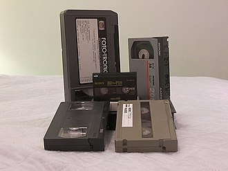 U-matic - U-matic (back row, left) compared to other video cassette formats