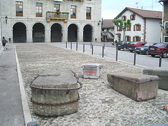 Sagardotegi - The main square of Astigarraga with the stones and track for the idi-probak