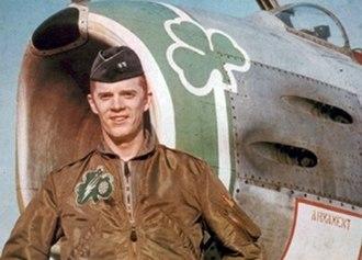 Rusty Schweickart - Schweickart standing in front of his North American F-86 Sabre in 1963