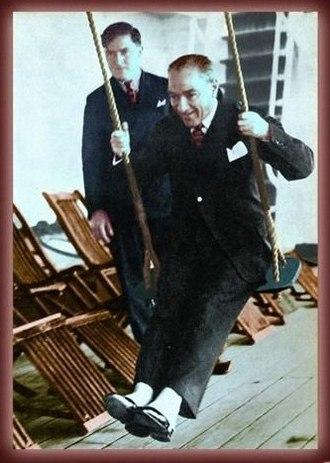 Mustafa Kemal Atatürk's personal life - Atatürk on Ege steamer during a tour to Antalya, February 1935.