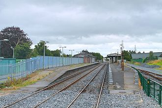 Athlone railway station - The closed MGWR station, seen from a passing train.