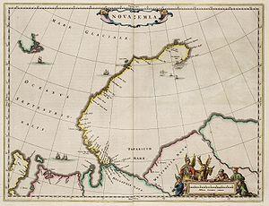 Cape Flissingsky - Nova Zemlya with Kaap Flissingsky indicated by t' Vißinger Hooft on the Northeastern edge (Atlas van Loon, 1664)