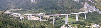 "A40 autoroute - The Nantua viaduct on the ""Highway of the Titans"" of Autoroute A40"