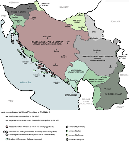 Occupation and partition of Yugoslavia after the Axis invasion Axis occupation of Yugoslavia 1941-43 legend.png