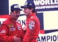 Ayrton Senna and Nigel Mansell 1989 Belgian GP podium.jpg