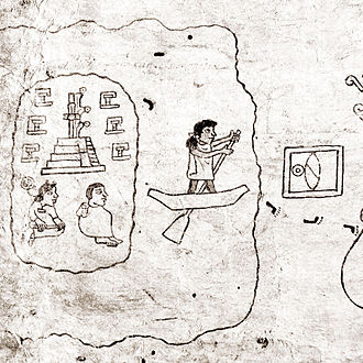 Mesoamerican writing systems - Detail of first page from the Aztec Boturini Codex showing the use of semasiological writing combined with phonetic glyph elements.