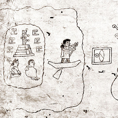 A page from the Codex Boturini depicting the departure from Aztlan Aztlan codex boturini.jpg