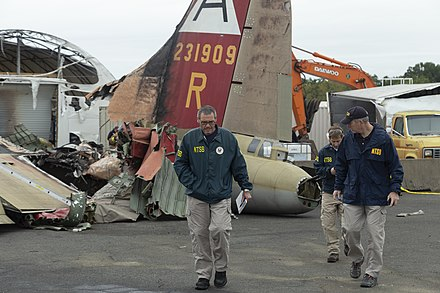 NTSB investigators at the crash site on October 3 B-17 gretz (48838452072).jpg