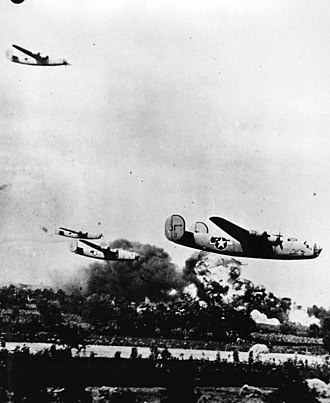 344th Air Refueling Squadron - 98th Bomb Group Liberators attacking Ploiești
