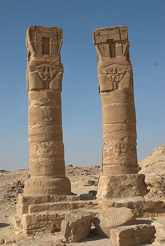 Temple of Mut, Jebel Barkal - Hathor columns of the Temple of Mut