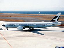 A Cathay Pacific Boeing 777-200 on the tarmac