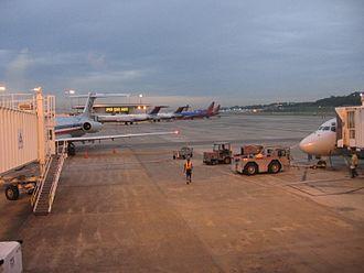 Birmingham–Shuttlesworth International Airport - Seven narrow body mainline airplanes start the day at Birmingham International Airport in May 2008. See photo description for more details.