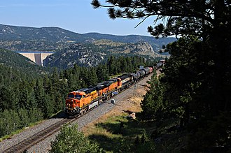 Central Corridor (Union Pacific Railroad) - A BNSF Railway freight train passes the Gross Dam on the Moffat Tunnel Subdivision