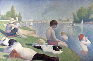 Société des Artistes Indépendants - Georges Seurat 1884, retouched 1887, Une baignade à Asnières (Bathers in Asnières), oil on canvas, 201 x 300 cm, National Gallery, London
