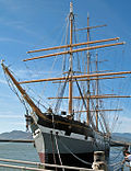 "Port bow view of the square-rigged sailing ship ""Balclutha"", Hyde Street Pier, San Francisco Maritime National Historic Park."