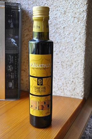 "Balsamic vinegar of Modena - A bottle of ""greek balsamic"" (monastery of Agía Triáda)"