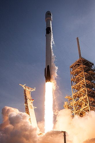 Falcon 9 - SpaceX's Falcon 9 Block 5 rocket lifts off from Kennedy Space Center LC-39A with the Bangabandhu-1 satellite (May 2018).