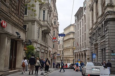 Bankalar Caddesi was Istanbul's financial center during the Ottoman period. Completed in 1892, the Ottoman Central Bank headquarters is the first building at right. Bankalar Caddesi.jpg