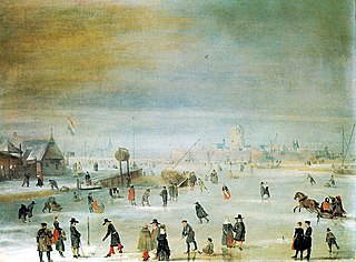 Skaters and kolf players on the ice near Kampen