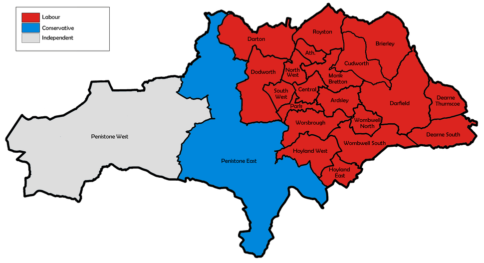 Barnsley UK local election 1991 map