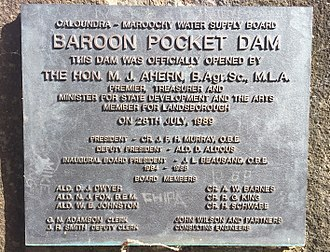 North Maleny, Queensland - Plaque from the opening of the Baroon Pocket Dam