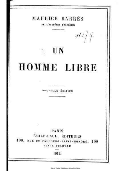 File:Barrès - Le culte du moi : un homme libre.djvu