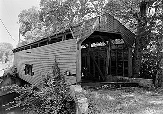 Bartram's Covered Bridge - Image: Bartram's Covered Bridge, Spanning Crum Creek, Newtown Square vicinity (Willistown Newtown Townships), Newtown Square, Delaware County, PA HABS PA,15 WHIHO.V,3 1