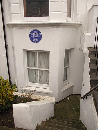 Sri Aurobindo -  Basement of 49 St Stephen's Avenue, London W12 with Sri Aurobindo Blue Plaque