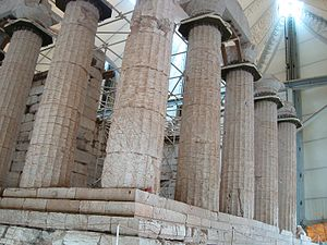 Apollo - Partial view of the temple of Apollo Epikurios (healer) at Bassae in southern Greece