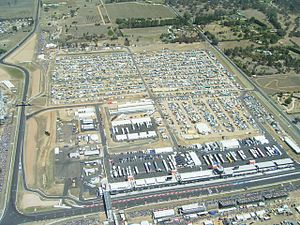 Mount Panorama Circuit - The Chase (top left), followed by Murray's Corner and the Pit Straight.