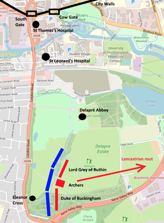 Map of the battle of northampton
