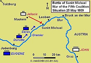 The Battle of Sankt Michael, showing the situation early on 25 May 1809 as the divisions of Seras and Durutte move to intercept Jellacic's march.