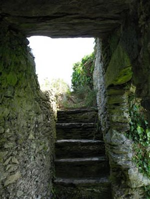 Ballycarbery Castle - Steps inside the wall.