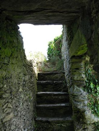 Ballycarbery Castle - Steps inside the wall.