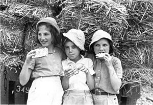 Israelis - Israeli girls in the 1960s, eating matzot—unleavened bread traditionally eaten by Jews during Passover