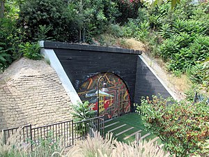 Belmont Tunnel portal, July 2017.JPG