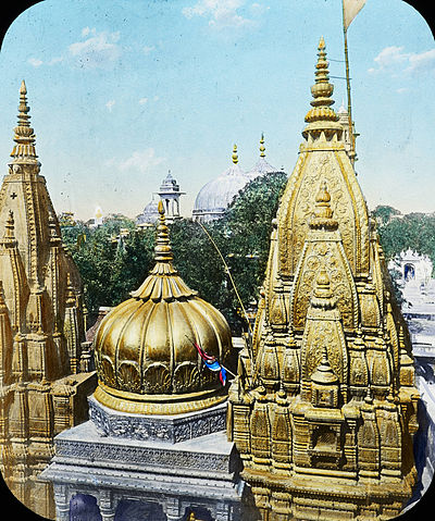 In 1835, Maharaja Ranjit Singh donated 1 tonne of gold for plating the Kashi Vishwanath Temple's dome. Benares- The Golden Temple, India, ca. 1915 (IMP-CSCNWW33-OS14-66).jpg
